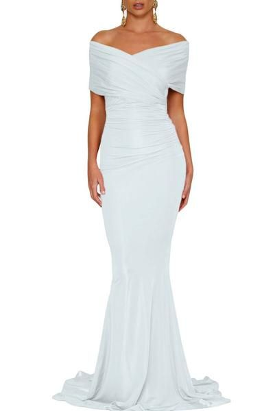 White Off-shoulder Mermaid Wedding Party Gown, Shop for cheap White Off-shoulder Mermaid Wedding Party Gown online? Buy at ModeShe.com on sale!