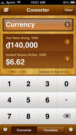 Currency Converter: Must have when traveling abroad.