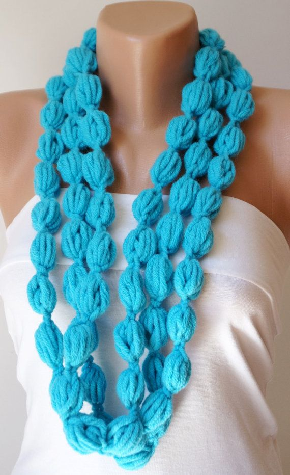Bubble Turkish blue, Turquoise color scarf, necklace, lariat via Etsy