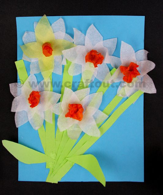 Craft Supplies Light Blue Construction Paper For Background Green Stems And Leaves White Yellow Orange Tissue