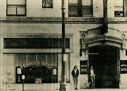 Jim and Ray standing in front of Morrison Hotel.