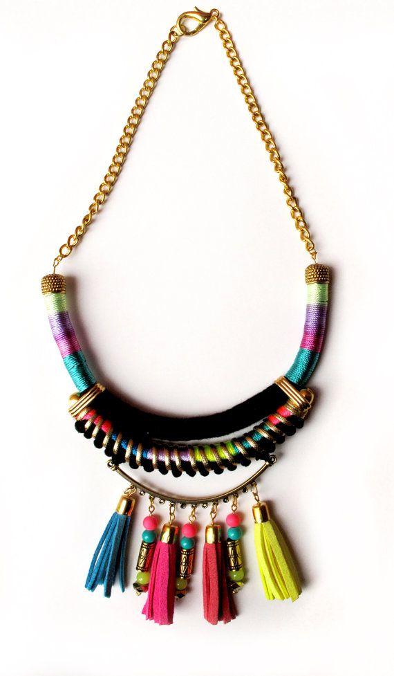 Tassel necklace tribal necklace neon jewelry pom by tashtashop