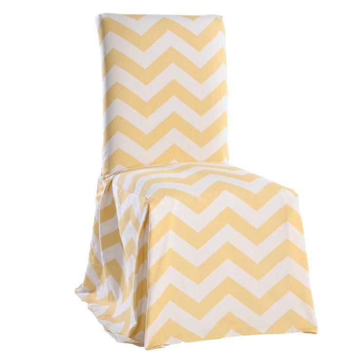 Classic Slipcovers Chevron Cotton Dining Chair Slipcover Pair Yellow White Geometric
