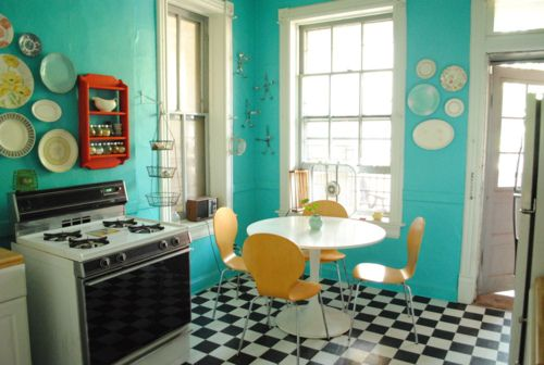 Teal checkered tiles kitchen ideas pinterest teal kitchen tile and plates on wall - Retro flooring kitchen ...