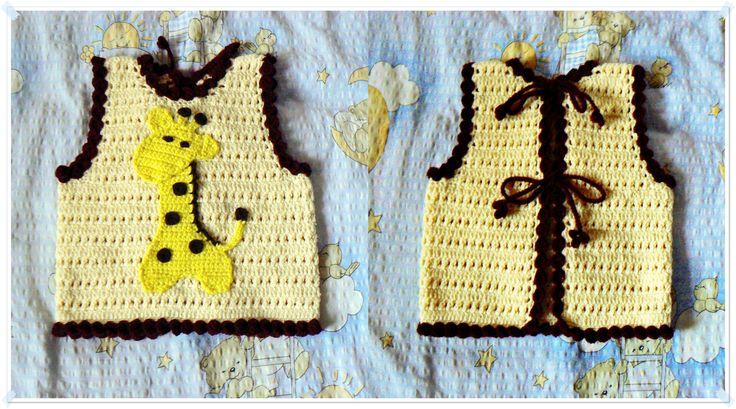 Crochet vest with a giraffe.