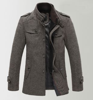 Men's Military Jacket with Rib Knit Collar