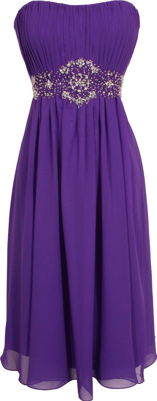 Amazon.com: Strapless Chiffon Goddess Gown Prom Dress Formal Knee-Length