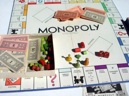 Vintage Monopoly Board Game. Lisa is such a cheater. They'd play for 4-5 hours then she'd quit so once again, we can't have this game either.