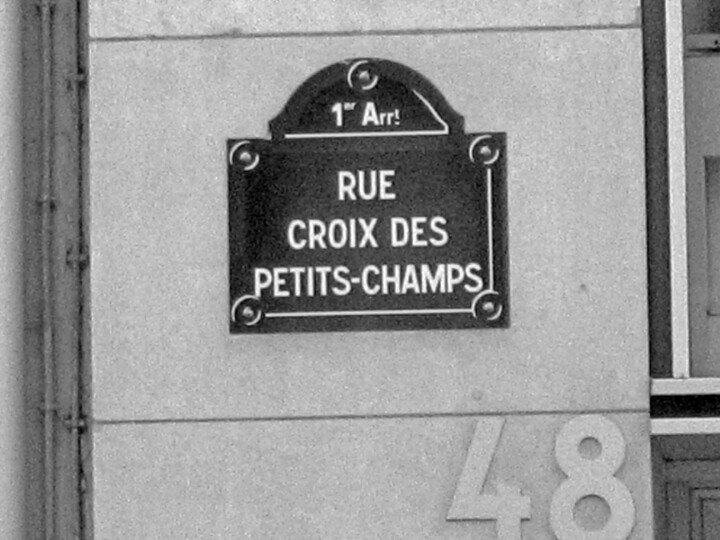 Paris 1er - plaque de rue - rue croix des petits-champs