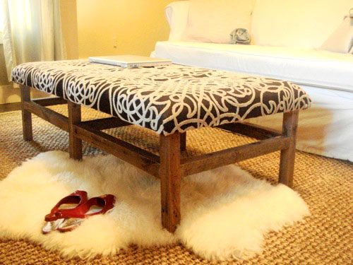 I saw something similar somewhere else make with posts and decorative toppers, but this is close. Want to make it for the end of the bed. Let's Build It: Kara's Amazing DIY Ottoman | Young House Love