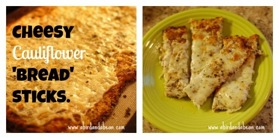 Cheesy Cauliflower Garlic 'Bread' Sticks Gluten, grain free. Paleo and Celiac friendly
