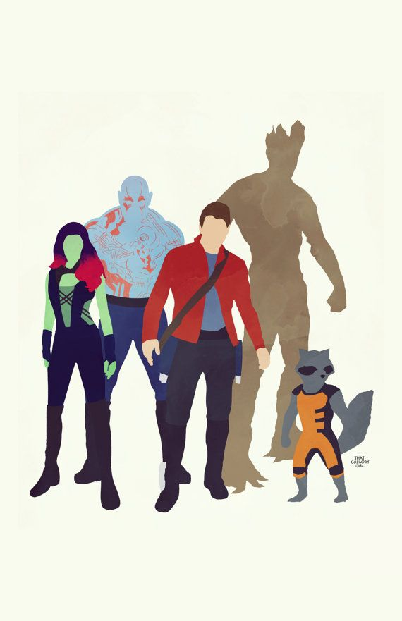 Marvel's Guardians of the Galaxy: Gamora, Drax, Peter Quill, Groot, and Rocket on Etsy, $40.00