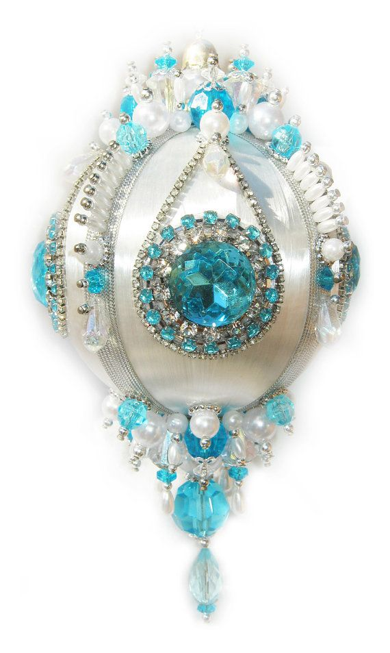 Add some sparkle to your Christmas tree with a handmade ornament from my gallery! Aqua and crystal rhinestones and beads bedeck a 3.25 satin ball. I