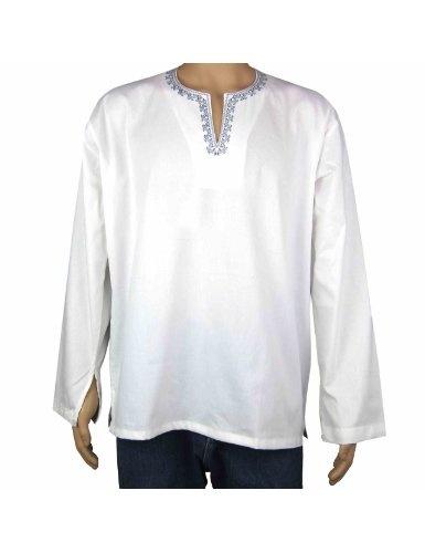 v tement de mode pour hommes kurta blanc en coton tenue indienne tour de poitrine 96 52. Black Bedroom Furniture Sets. Home Design Ideas