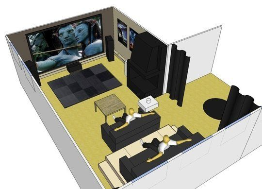 Not a Bad Seat In the House: DIY Home Theater With Elevated Stadium Seating — MinHembio | Apartment Therapy