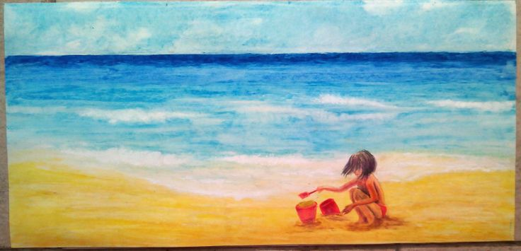 """summer"" with oil pastels on plain paper. It was made for my daughter's room and she is convinced that she is the model"