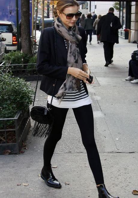 siyah tayt ile kış sokak modası 2016