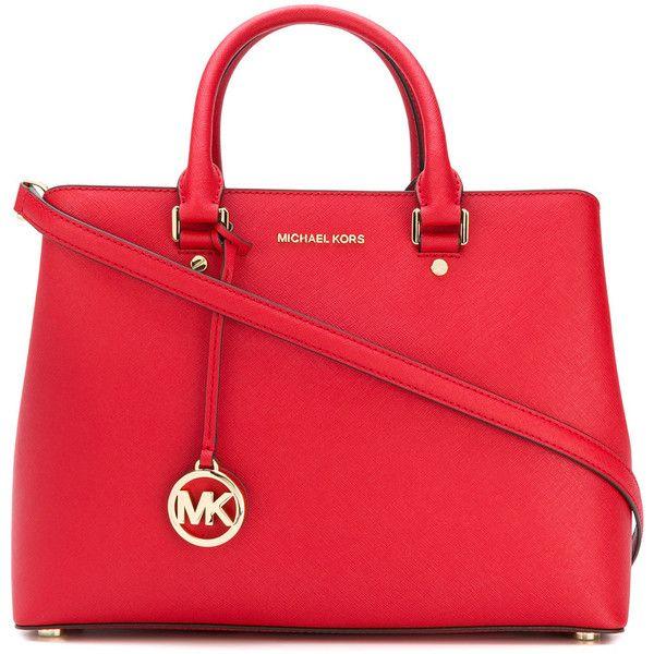 Michael Michael Kors Savannah large satchel bag (1,600 PEN) ❤ liked on Polyvore featuring bags, handbags, red, red satchel handbag, hand bags, purse satchel, red handbags and handbag purse