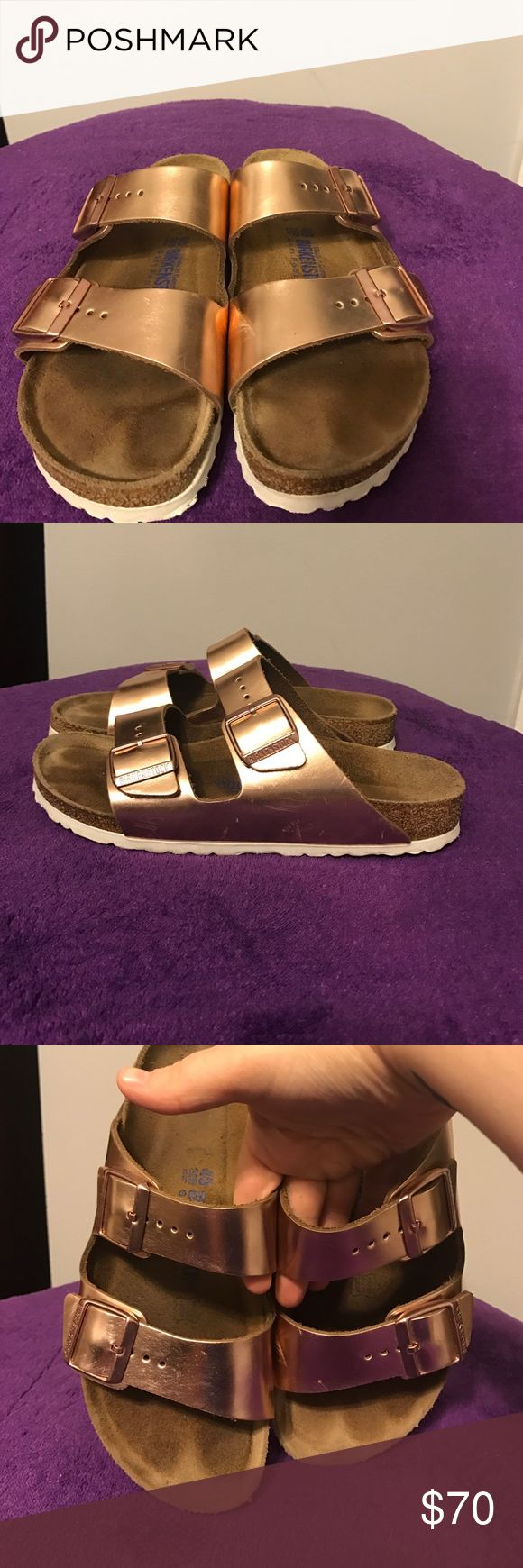 Rose Gold Birkenstocks VERY gently used. Some scuffs. Great condition. Size 40. Birkenstock Shoes Sandals