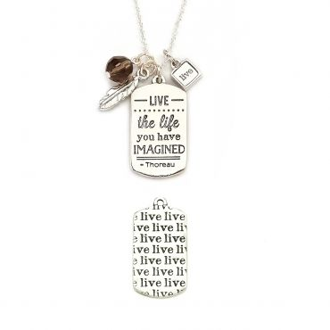"$30 Live The Life Mantra Necklace in Brass, Silver - Get 25% off this necklace with code ""foxypin"" http://www.foxyoriginals.com/Live-The-Life-Mantra-Necklace-in-Silver.html"