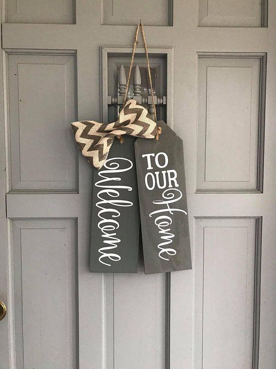 Large Wood Door Tags Door Hanger Welcome To Our Home Hand