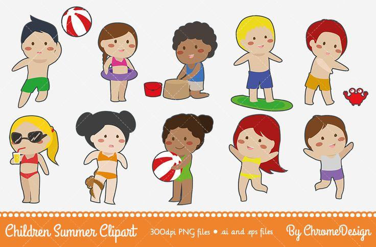 Children Summer Clipart ~ Children Vacation Clipart ~ Children Holiday Clipart ~ Instant download!