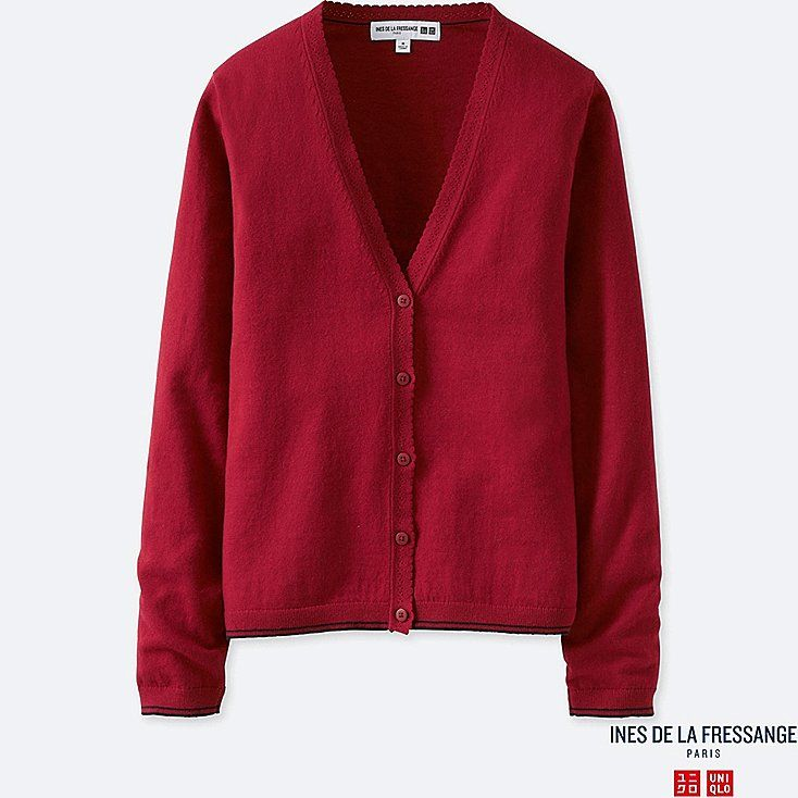 WOMEN IDLF COTTON CASHMERE V-NECK CARDIGAN, RED, large
