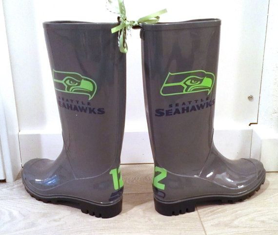 Grey and neon green Russell Wilson Seahawks Custom by LiLaStore, $75.00