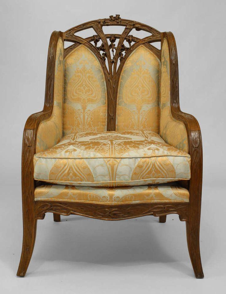 modern art nouveau furniture. french art nouveau carved bergere by louis majorelle modern furniture