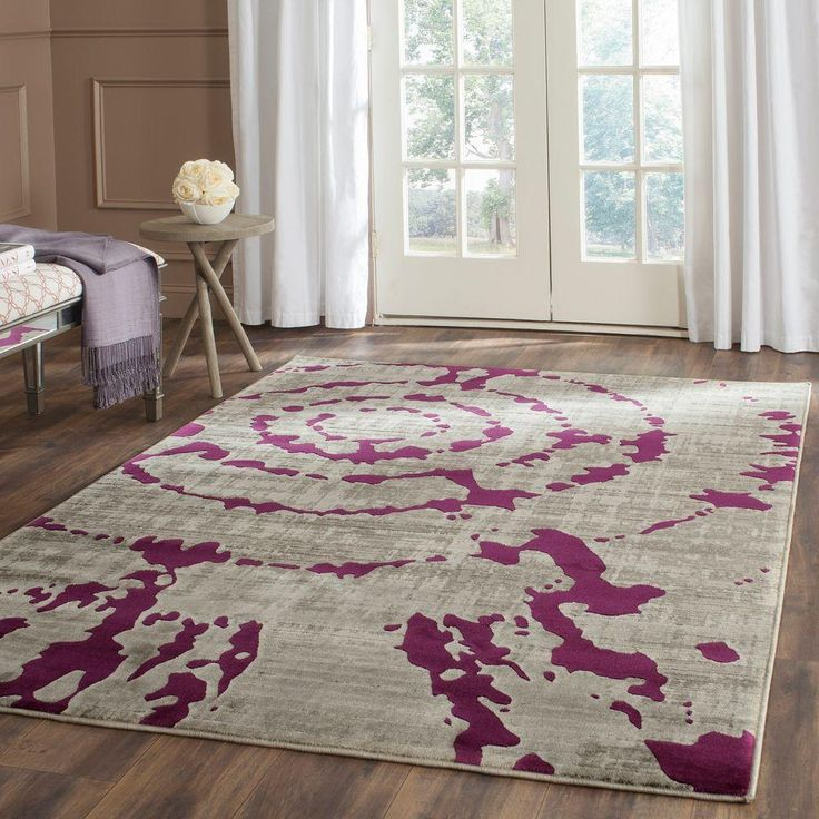 Porcello Light Grey/Purple 5 ft. 2 in. x 7 ft. 6 in. Area Rug