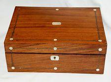 Atractivo antigua victoriana Antique Victorian De Palo De Rosa joyas, coser, Caja de Recuerdo Craft