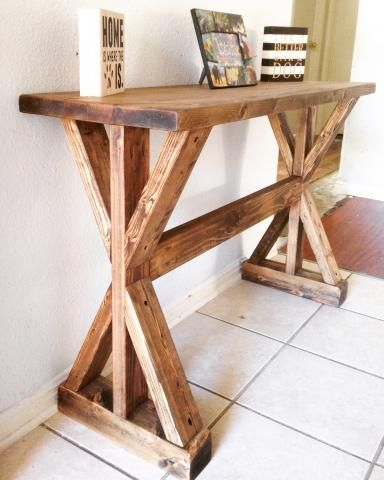 Rustic X-Entryway Table