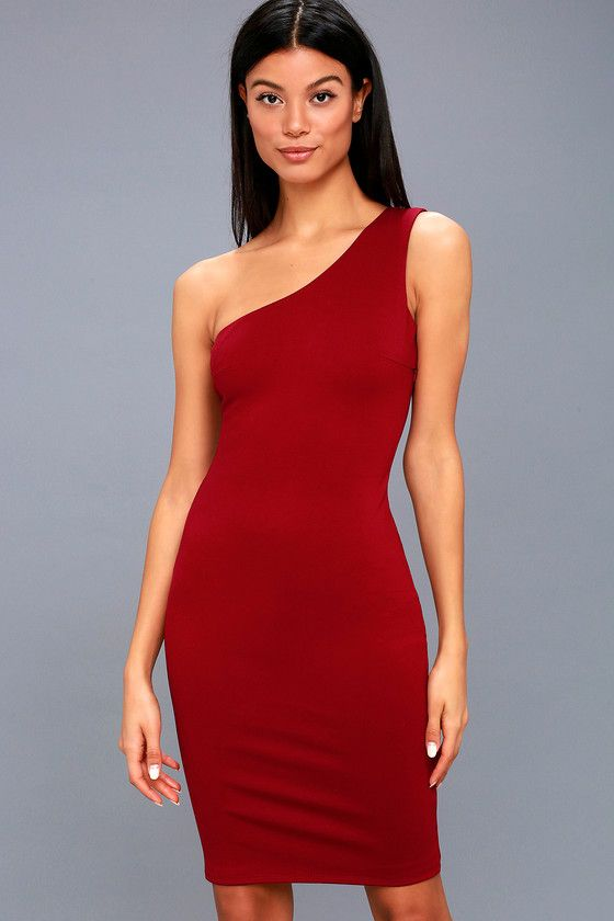 Lulus Exclusive! Be the envy of their eye in the Evening Soiree Red One-Shoulder Bodycon Midi Dress! Medium-weight stretch knit shapes an elegant one-shoulder neckline, and fitted, darted bodice. Bodycon midi skirt. Hidden side zipper.