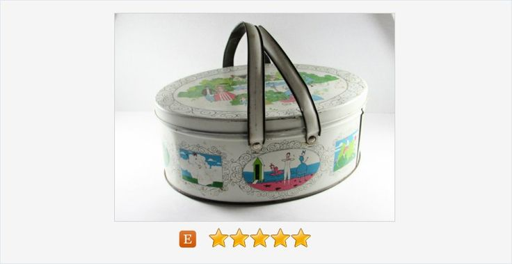 White #Metal #Sewing #Tin #Basket #Victorian Couples #Leisure Park #decor #vintage #vintagesewing