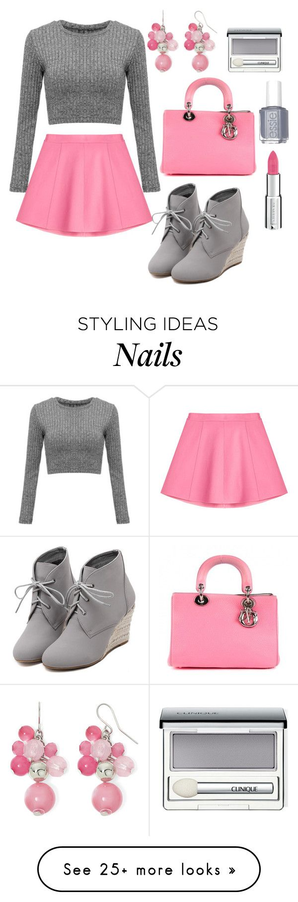"""""""Pink and Gray"""" by jilld727 on Polyvore featuring RED Valentino, Essie, Christian Dior, WithChic, Mixit, Clinique and Givenchy"""