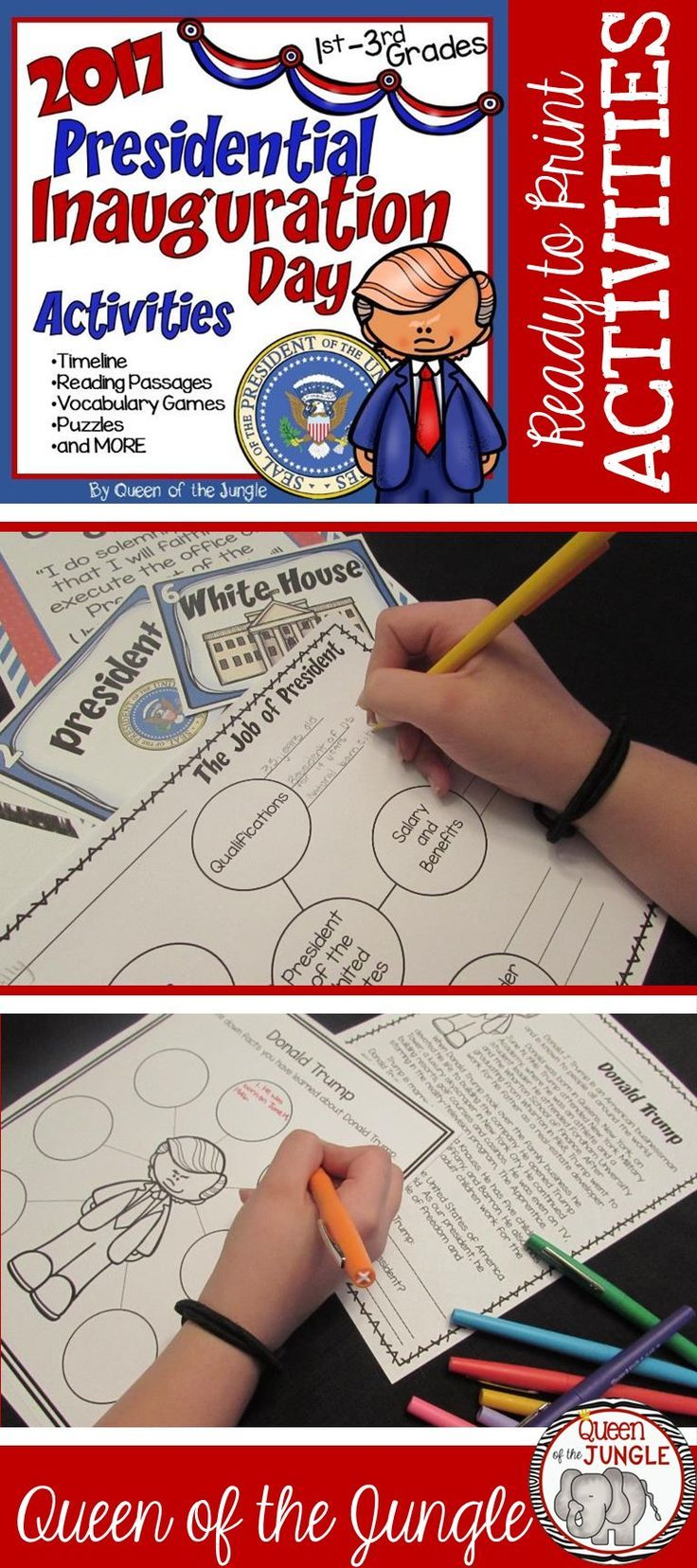 Activities for Inauguration Day 2017 Donald Trump Sworn in for President. #inaugurationday https://www.teacherspayteachers.com/Product/2017-Inauguration-Day-2963679