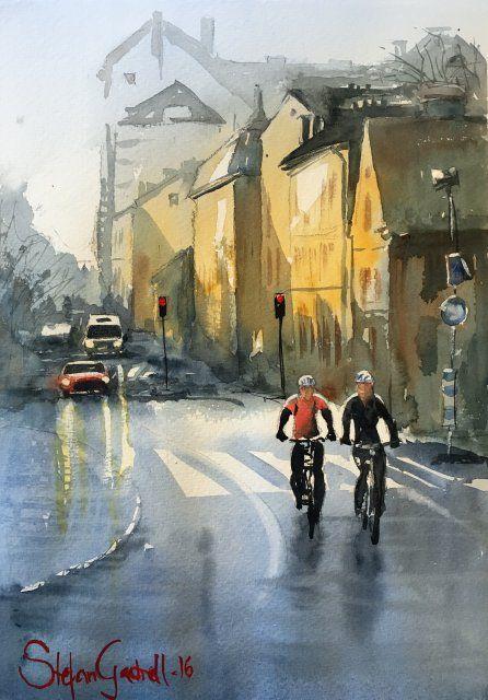 Två cyklister på St Olofsgatan, Stefan Gadnell. SÅLD