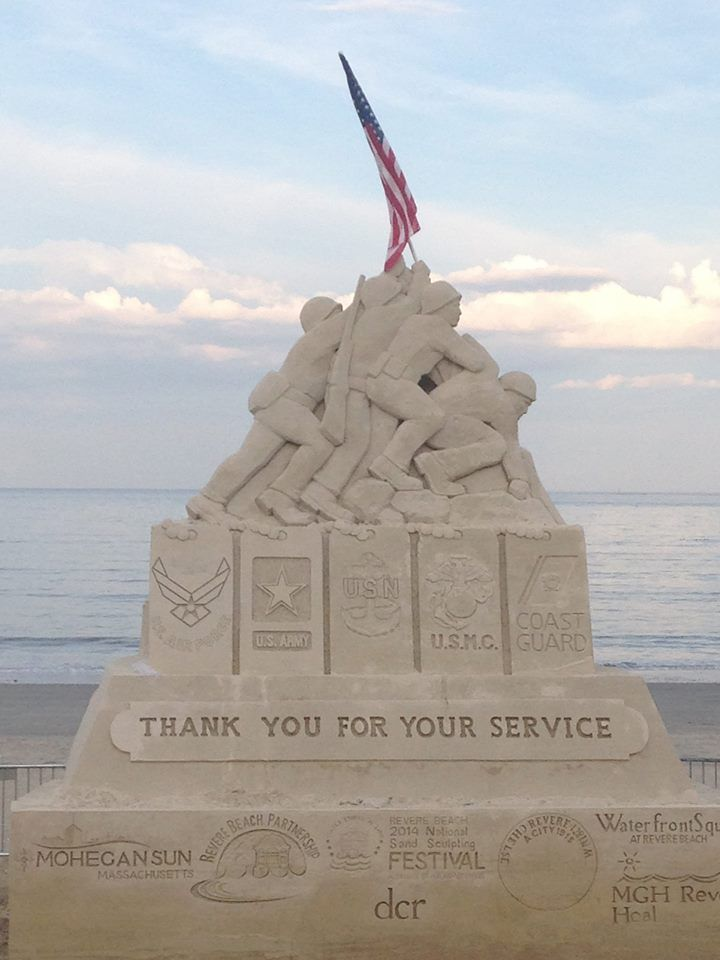 "Revere Beach National Sand Sculpting Festival 2014.  This year's event benefits the Wounded Warrior Project and the theme is ""Stars and Stripes."""