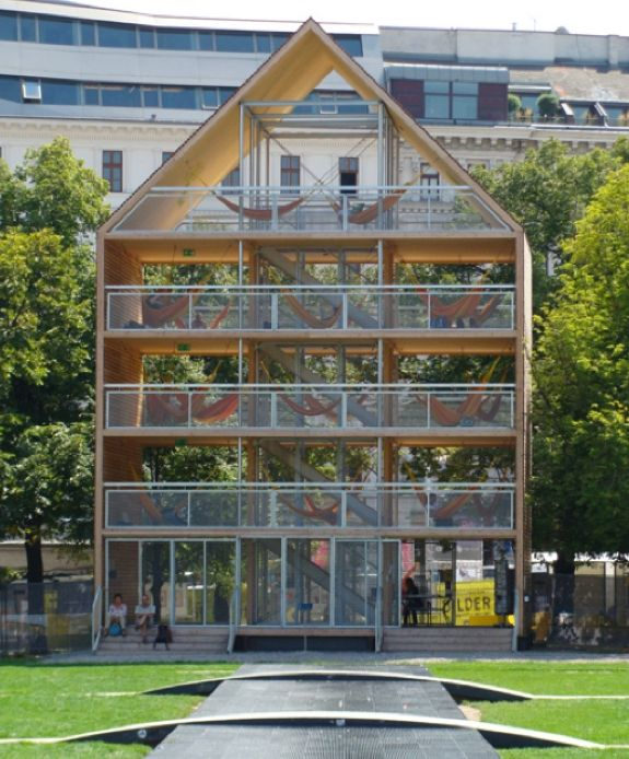 """Flederhaus - Vienna's public hammock hang out- I literally said """"WHAT"""" when my eyes saw this thing of beauty! Is so smart it's ridiculous..."""