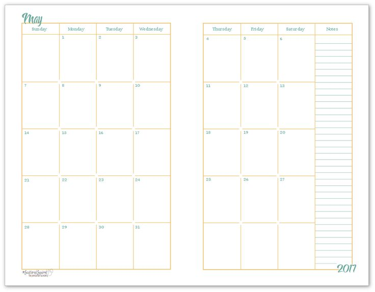 All months available free. WOW May 2017 Half-size Monthly Calendar Example of the the 2 page per month layout