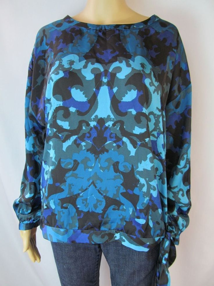 NEW DANA BUCHMAN M Teal Blue Silky Loose Royal Print Poet Shirt Blouse Banded #DanaBuchman #Blouse #Casual