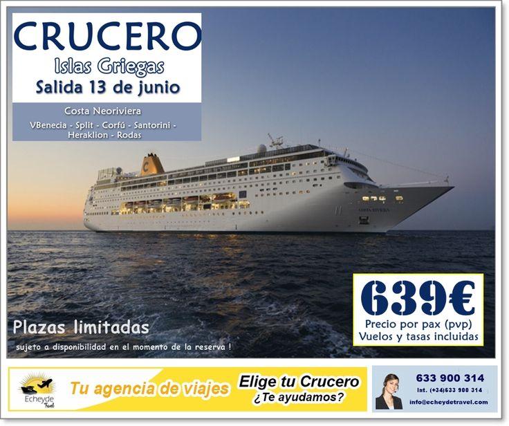 Ultima hora !! #crucero Islas Griegas en buque neoRiviera salida 13 de Junio desde Venecia 639€ Vuelos y tasas incluidas. Reserva en Echeyde Travel Tfno: 633 900 314 info@echeydetravel.com www.echeydetravel.com