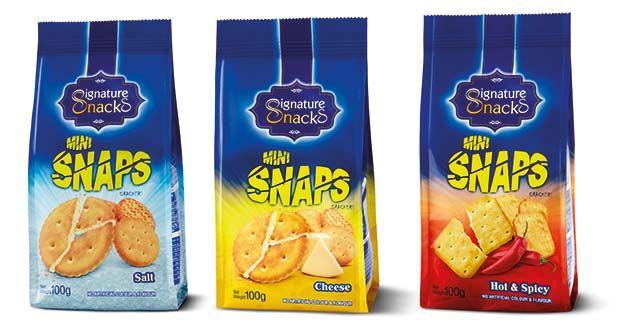 Snaps, de Signature Snacks: Crujientes galletas sabor a queso, picantes y saladas, para todos los paladares.