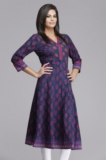 Royal #purple #Anarkali Cotton #Kurta by #Farida Gupta on www.indiainmybag.com/farida-gupta