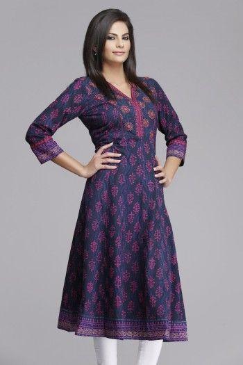 Royal #purple #Anarkali Cotton #Kurta by #Farida Gupta on www.indiainmybag.com/farida-gupta