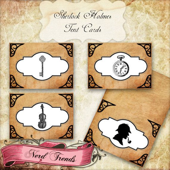Sherlock Holmes inspired Party Food/Tent Cards. Great for use in any occasion to add that perfect touch!    **INSTANT DOWNLOAD, NO SHIPPING**