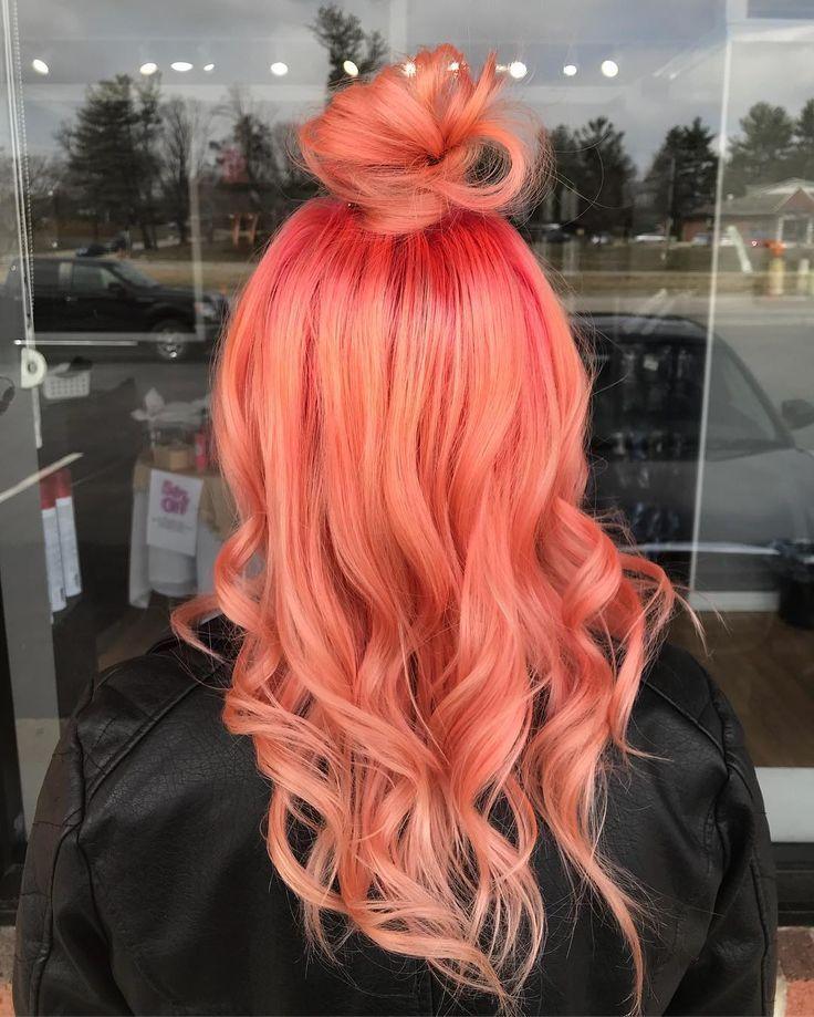 Pinky peach hair color ideas Hair color, Dyed hair, Hair
