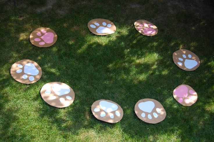 musical chairs, played on the grass with cardboard circles decorated with paper pawprints.