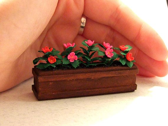 1:6 Scale Handmade Large Orange Clay Orchid Dolls House Miniature Garden Flower