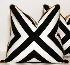Black white gold graphic pillows